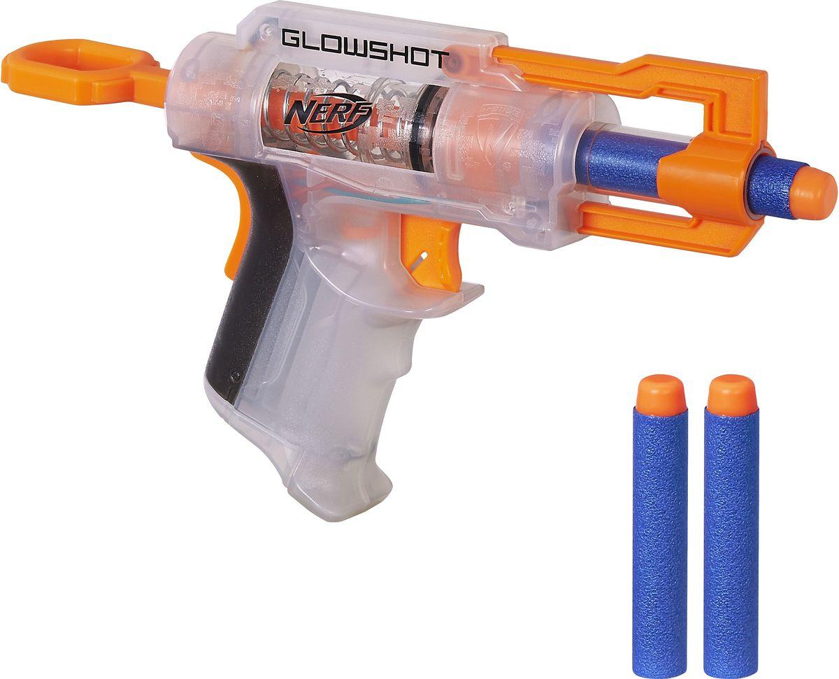 Nerf Бластер GlowshotB4615EU4Бластер Nerf Glowshot - это детское оружие, которое приведет в восторг любого поклонника захватывающих сражений. Бластер имеет прозрачный корпус, курок и спусковой крючок оранжевого цвета - такой дизайн делает оружие невероятно стильным. Бластер можно применить в фантазийном сражении с инопланетянами, монстрами или же просто оттачивать свое мастерство в совершении наиболее точных выстрелов по мишени. В комплекте с бластером идут три патрона с мягким корпусом и пластиковой верхушкой. Такое строение снаряда делает его легким и мягким, поэтому ребенок не поранится во время игры. Необходимо купить 2 батарейки напряжением 1,5V типа ААА (не входят в комплект).