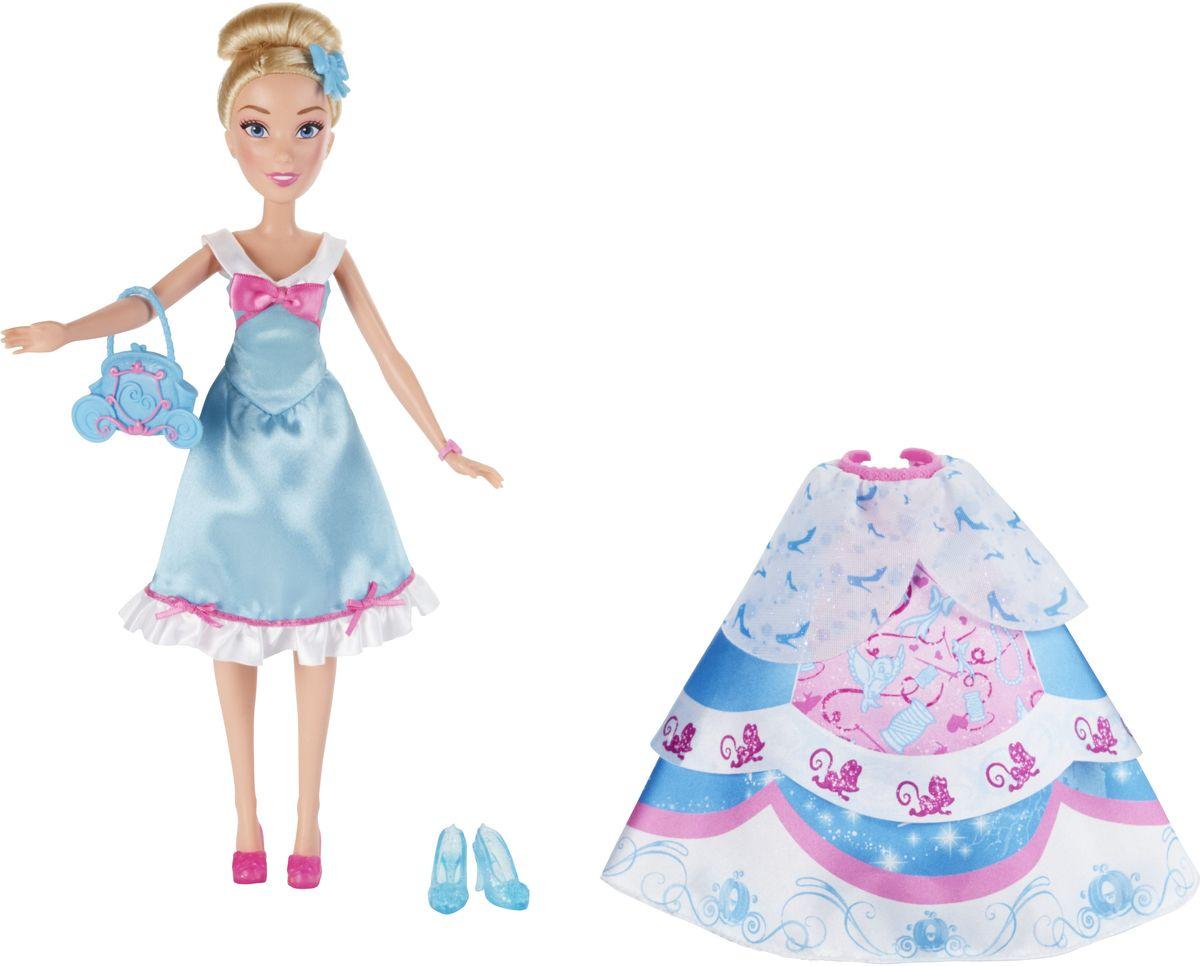 Disney Princess Кукла Золушка в платье со сменными юбкамиB5314EU4_B5312Кукла Disney Princess Золушка поможет вашей малышке окунуться в сказочный мир. Игрушка выполнена в виде главной героини диснеевского мультфильма. Принцесса одета в простое платье в присущей ей цветовой гамме. В наборе с куклой есть три текстильные юбки, которые можно одевать к платью, 4 клипсы в виде бантов и голубые туфельки на высоких каблуках. У Золушки имеется оригинальная сумочка в виде кареты и розовые домашние тапочки. Девочки могут сочетать и смешивать различные юбки, чтобы создать неповторимый наряд для принцессы. Ручки, ножки и голова у неё подвижны. Вашей малышке наверняка понравится заплетать и расчесывать длинные светлые волосы Золушки. Ваша малышка с удовольствием будет играть с этой куколкой, проигрывая сюжеты из мультфильма или придумывая различные истории.