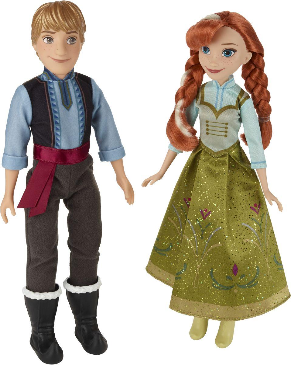 Disney Frozen Набор кукол Анна и КристофB5168EU4Набор кукол Disney Frozen Анна и Кристоф - это персонажи популярного мультфильма Холодное сердце. Игрушки полностью повторяют образы экранных героев, поэтому вы сразу же узнаете Анну и Кристофа. Анна одета в оливковое платье с голубыми рукавами. Фасон наряда является привычным для этой героини и любимым. Юбка к низу слегка набирает объем, образуя колокол. Кристоф оделся в привычную по мультфильму одежду (однако этот вариант гораздо легче). Голубая рубашка скрывается за темным жилетом, который подвязан поясом. На ногах куклы - меховые сапоги, в которые заправлены теплые штаны. У кукол подвижные части тела (двигаются руки, ноги и головы). Кристоф может приобнять свою любимую Анну или же пройтись с ней, придерживая ее за руку. Такой набор станет хорошим подарком для поклонников мультипликационного фильма.