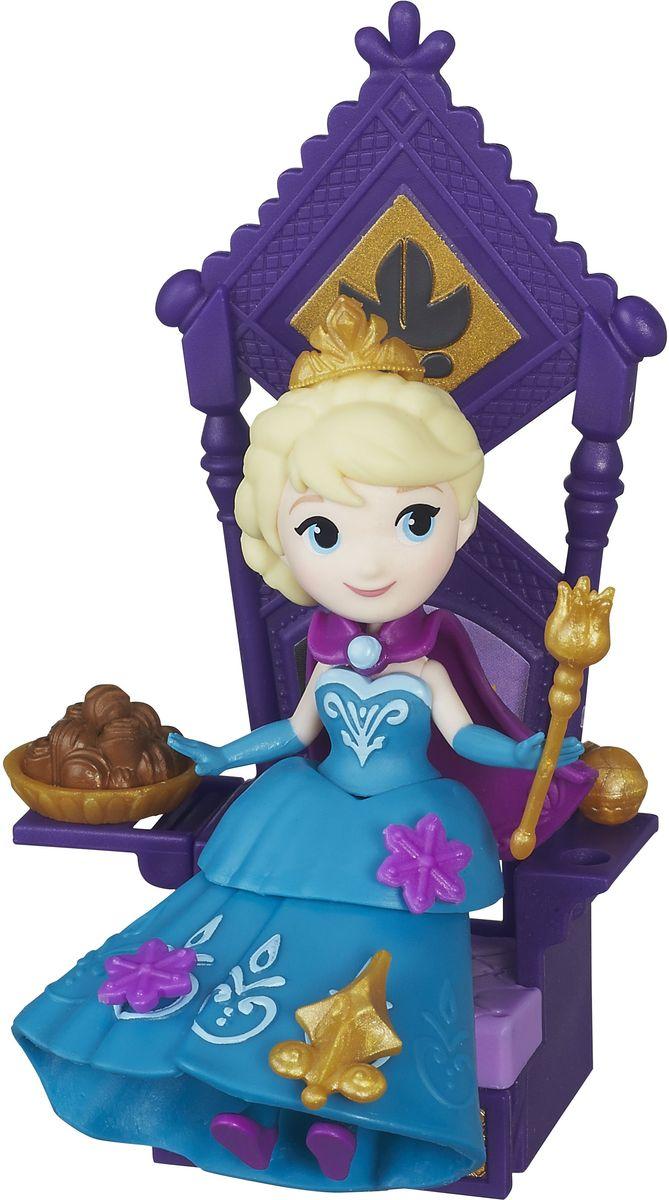 Disney Frozen Мини-кукла Эльза и тронB5189EU4_B5188Мини-кукла Disney Princess Эльза выполнена в виде сказочной принцессы из мультфильма Холодное сердце. Нарядное пластиковое платье с баской украшено съемными декоративными элементами, на голове у Эльзы красуется корона. Украшать платье принцессы можно специальными аксессуарами из комплекта. Для этого в наряде есть небольшие отверстия, в которые вставляются украшения. Эти отверстия не бросаются в глаза, даже когда украшений нет, поэтому наличие декоративных элементов на подоле будет зависеть только от настроения хозяйки куколки. У Эльзы дополнительно есть плащ, в котором она восходила на трон. Топ, баска, плащ и юбка у куколки съемные. Мини-кукла Эльза выглядит просто очаровательно. Она совсем небольшая по размеру, однако тщательно проработана. Ее внешний вид полностью повторяет облик девушки в мультфильме: у куклы такое же милое лицо с большими голубыми глазами и такая же прическа. В комплекте имеется большой трон для принцессы. Скипетр и держава могут...