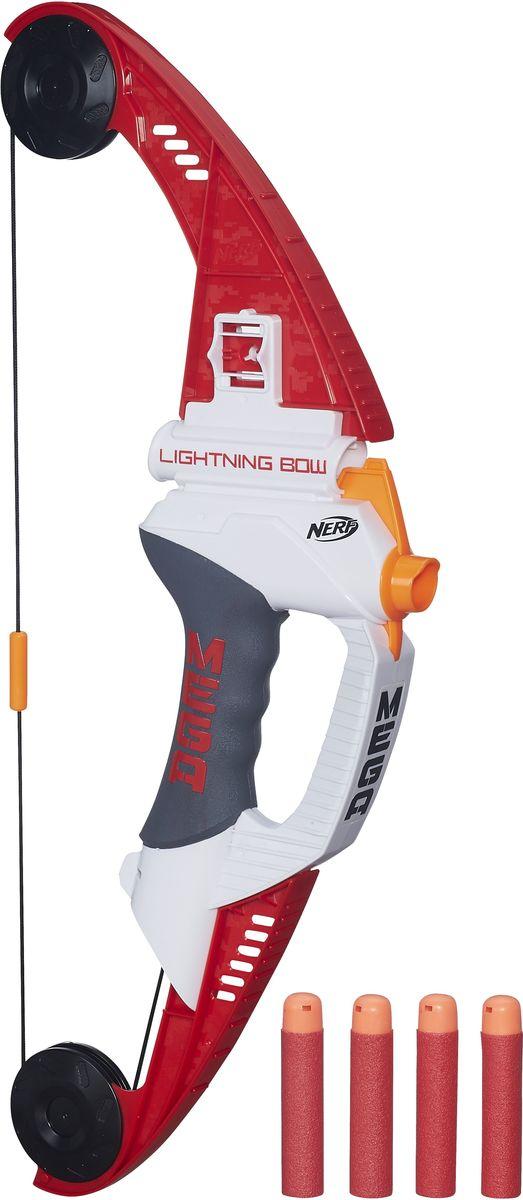 Nerf Лук Lightning BowA6276EU4Лук Nerf Lightning Bow станет занимательной игрушкой для маленьких любителей приключений. Это настоящая находка для тех, кто устал от обычных бластеров. Оружие может стрелять на расстояние до 28 метров! Точность стрельбы определяют патроны, которые при определенной сноровке точно попадают в цель. Принцип стрельбы как у обычных луков: вставьте снаряд, оттяните тетиву, внимательно прицельтесь и выстрелите. Игра с таким луком поможет ребенку в развитии меткости, ловкости, координации движений и сноровки. Используйте патроны, предназначенные только для этого лука.