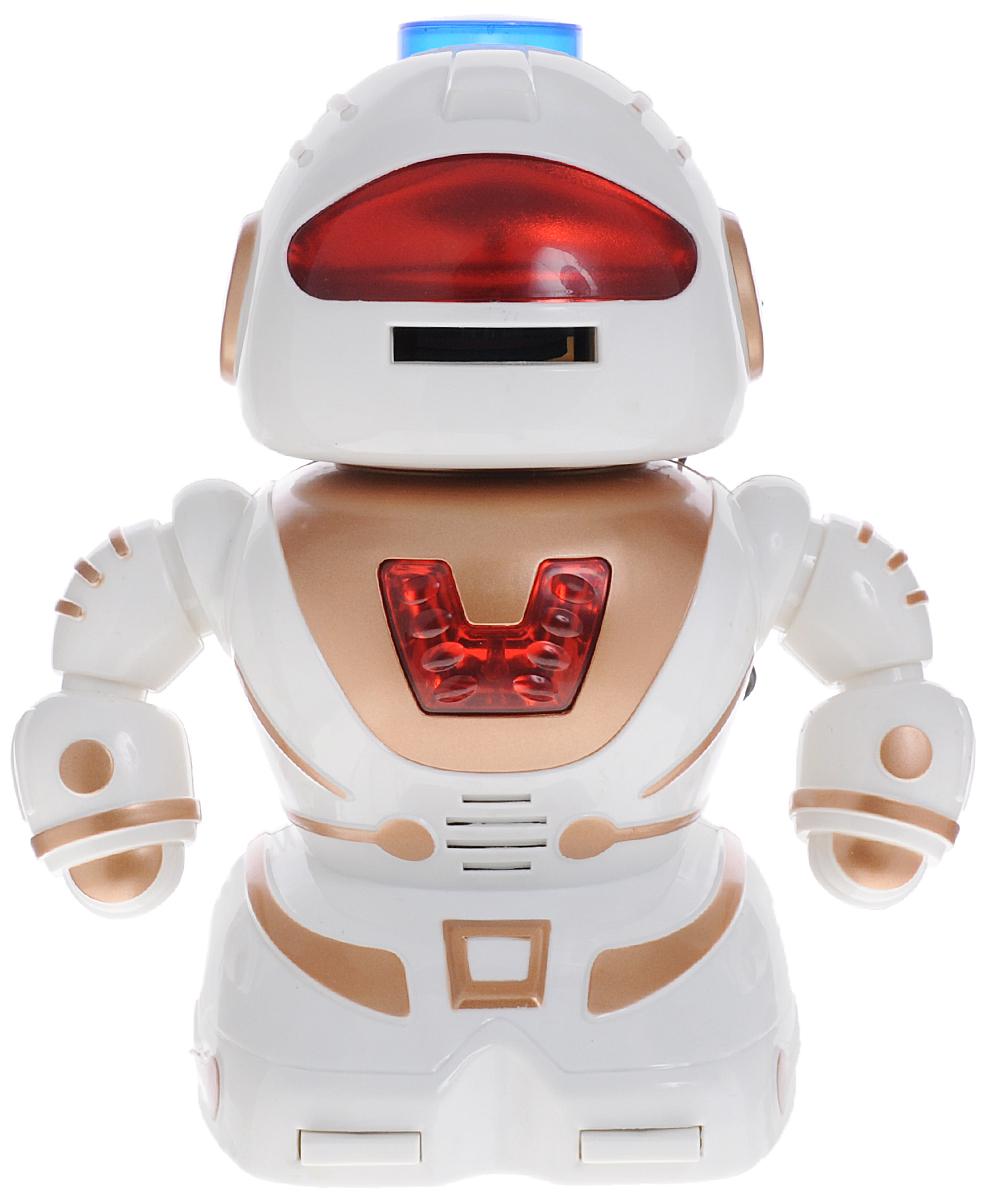 ABtoys Робот на радиоуправлении ДискострелC-00060(TT334)Робот на радиоуправлении ABtoys Дискострел понравится любому мальчишке и позволит весело провести время как детям, так и взрослым. Робот выполнен из прочного пластика и оснащен световыми и звуковыми эффектами. С помощью пульта управления он может перемещаться вперед или вращаться вокруг своей оси и издавать забавные звуки. Во время движения руки робота будут двигаться в такт походке, а глаза и лампочка на груди будут светиться. В голове робота есть специальный отсек для хранения мягких дисков из вспененного полимера. Нажмите на кнопку запуска дисков на пульте управления, чтобы робот выстрелил дисками изо рта. Ваш ребенок сможет часами играть с роботом, придумывая разные истории. Порадуйте его таким замечательным подарком! В комплект входит робот, пульт управления, мягкие диски. Для работы игрушки необходимы 4 батарейки типа АА (не входят в комплект). Для работы пульта управления необходимы 2 батарейки типа АА (не входят в комплект).