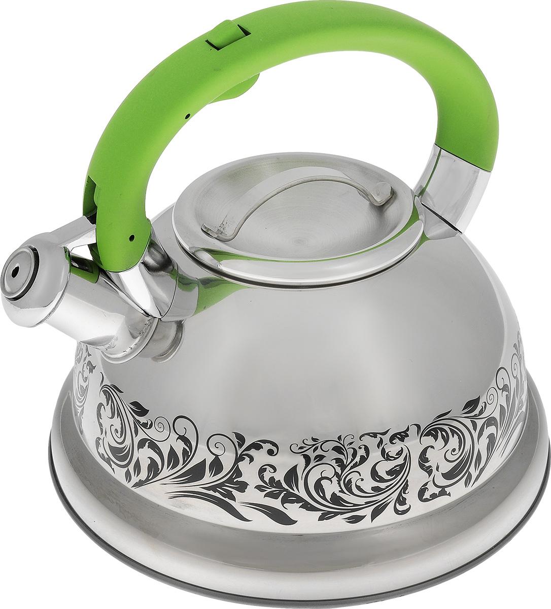 Чайник Mayer & Boch, со свистком, цвет: стальной, зеленый, 2,6 л. 2341523415Чайник Mayer & Boch выполнен из высококачественной нержавеющей стали, что обеспечивает долговечность использования. Изделие оформлено изящным рисунком, который одновременно является и индикатором цвета - при нагревании рисунок на корпусе меняет цвет. Ручка с силиконовой накладкой делает использование чайника очень удобным и безопасным. Чайник снабжен свистком и кнопкой для открывания носика. Пригоден для использования на газовых, электрических, индукционных плитах. Можно мыть в посудомоечной машине. Высота стенок чайника: 11 см. Общая высота чайника: 20,5 см.