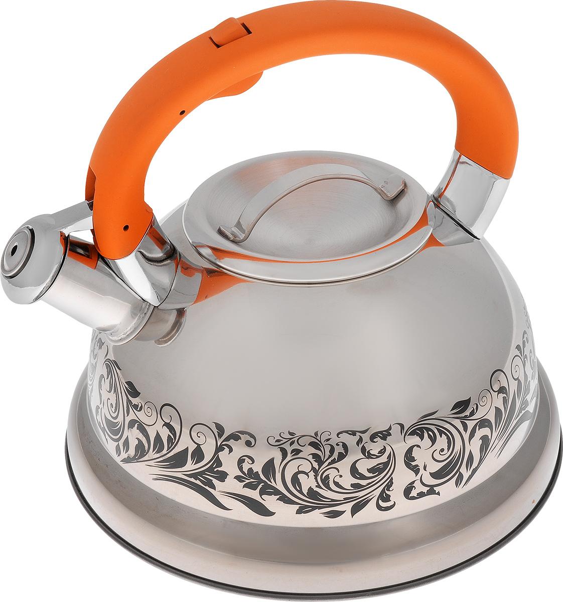 Чайник Mayer & Boch, со свистком, цвет: стальной, оранжевый, 2,6 л23416Чайник Mayer & Boch выполнен из высококачественной нержавеющей стали, что обеспечивает долговечность использования. Изделие оформлено изящным рисунком, который одновременно является и индикатором цвета - при нагревании рисунок на корпусе меняет цвет. Ручка с силиконовой накладкой делает использование чайника очень удобным и безопасным. Чайник снабжен свистком и кнопкой для открывания носика. Пригоден для использования на газовых, электрических, индукционных плитах. Можно мыть в посудомоечной машине. Высота стенок чайника: 11 см. Общая высота чайника: 20,5 см.