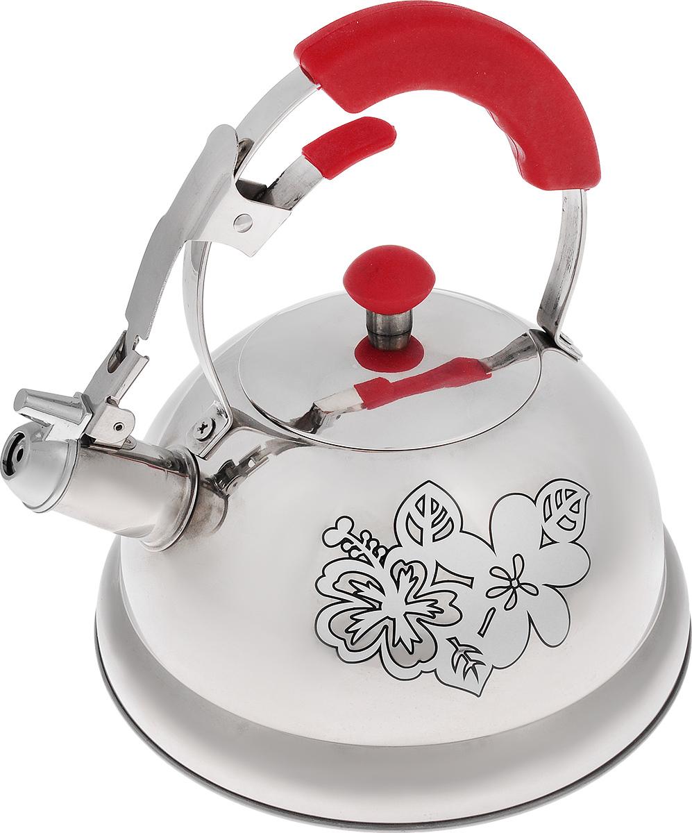 Чайник Mayer & Boch, со свистком, 2,6 л22790Чайник Mayer & Boch выполнен из высококачественной нержавеющей стали, что обеспечивает долговечность использования. Изделие оформлено изящным рисунком, который одновременно является и индикатором цвета - при нагревании рисунок на корпусе меняет цвет. Металлическая ручка с резиновой вставкой делает использование чайника очень удобным и безопасным. Чайник снабжен свистком и устройством для открывания носика. Пригоден для использования на газовых, электрических, индукционных плитах. Высота стенок чайника: 11 см. Общая высота чайника: 24 см.