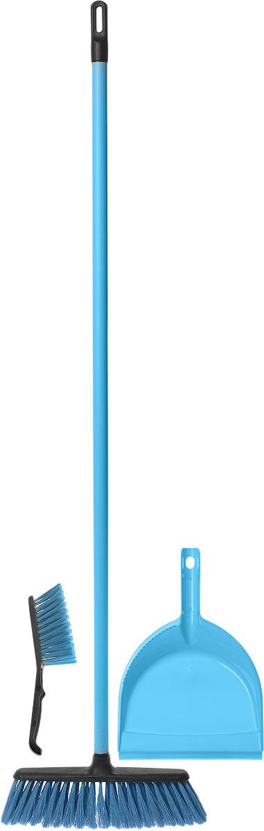 Набор для уборки York Combi Centi, цвет: голубой, 3 предмета8205_голубойНабор York Combi Centi состоит из совка, щетки- сметки и щетки-метелки, изготовленных из высококачественного пластика и сложных полимеров. Вместительный совок удерживает собранный мусор и позволяет эффективно и быстро совершать уборку в любом помещении. Сглаженный край совка обеспечивает наиболее плотное прилегание к полу. Щетка-метелка имеет удобную форму, позволяющую вымести мусор даже из труднодоступных мест. Щетка-сметка предназначена для уборки небольших поверхностей. Все предметы набора оснащены ручками с отверстиями для подвешивания. Черенок щетки- метелки выполнен из металла. С набором York Combi Centi уборка станет легче и приятнее. Общая длина щетки-метелки: 117 см. Длина ворса щетки-метелки: 7 см. Общая длина щетки-сметки: 26 см. Длина ворса щетки-сметки: 5 см. Длина совка: 32,5 см. Размер рабочей части совка: 23 х 22 х 5 см.