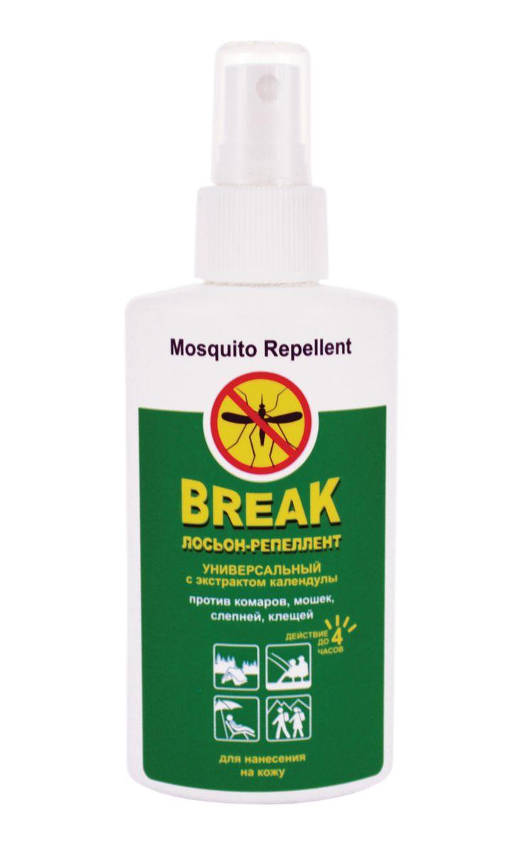 Break Лосьон-репеллент универсальный с экстрактом календулы 125 мл11789Благодаря специальной рецептуре, лосьон репеллент является надежным защитником от летающих кровососущих насекомых (комаров, слепней, мошек) и клещей. Удобная упаковка позволяет быстро и равномерно нанести средство на одежду и открытые участки тела, а входящий в состав экстракт календулы и пантенол смягчают действие репеллента, защищая кожу и ухаживая за ней. Действует на протяжении 4 часов.