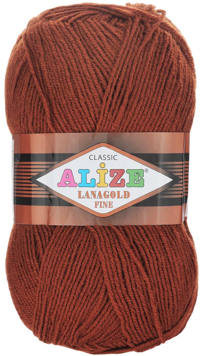 Пряжа для вязания Alize Lanagold Fine, цвет: кирпичный (91), 390 м, 100 г, 5 шт547499_91Alize Lanagold Fine - это полушерстяная пряжа для ручного вязания. Нить плотно скручена, гибкая, послушная, не пушится, не электризуется, аккуратно ложится в петли и не деформируется после распускания. Стойкое равномерное окрашивание обеспечивает широкую палитру оттенков, высокое качество материала и используемых красителей защищает от потери цвета. Соотношение шерсти и акрила - формула практичности. Высокие тепловые характеристики сочетаются с эстетикой, носкостью и простотой ухода за вещью. Классическая пряжа для зимнего сезона, может использоваться для детской и взрослой одежды. Alize Lanagold Fine - универсальная пряжа, которая будет хорошо смотреться в узорах любой сложности. Рекомендуемый размер спиц 2,5-4 мм и крючка 2-4 мм. Состав: 49% шерсть, 51% акрил.