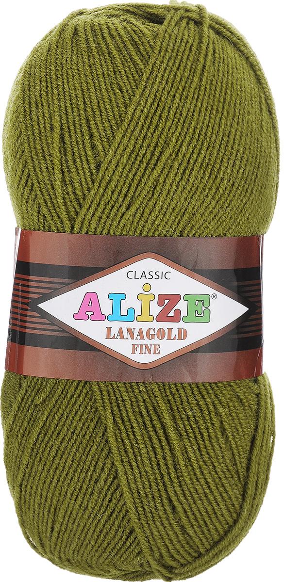 Пряжа для вязания Alize Lanagold Fine, цвет: хаки (233), 390 м, 100 г, 5 шт547499_233Alize Lanagold Fine - это полушерстяная пряжа для ручного вязания. Нить плотно скручена, гибкая, послушная, не пушится, не электризуется, аккуратно ложится в петли и не деформируется после распускания. Стойкое равномерное окрашивание обеспечивает широкую палитру оттенков, высокое качество материала и используемых красителей защищает от потери цвета. Соотношение шерсти и акрила - формула практичности. Высокие тепловые характеристики сочетаются с эстетикой, носкостью и простотой ухода за вещью. Классическая пряжа для зимнего сезона, может использоваться для детской и взрослой одежды. Alize Lanagold Fine - универсальная пряжа, которая будет хорошо смотреться в узорах любой сложности. Рекомендуемый размер спиц 2,5-4 мм и крючка 2-4 мм. Состав: 49% шерсть, 51% акрил.