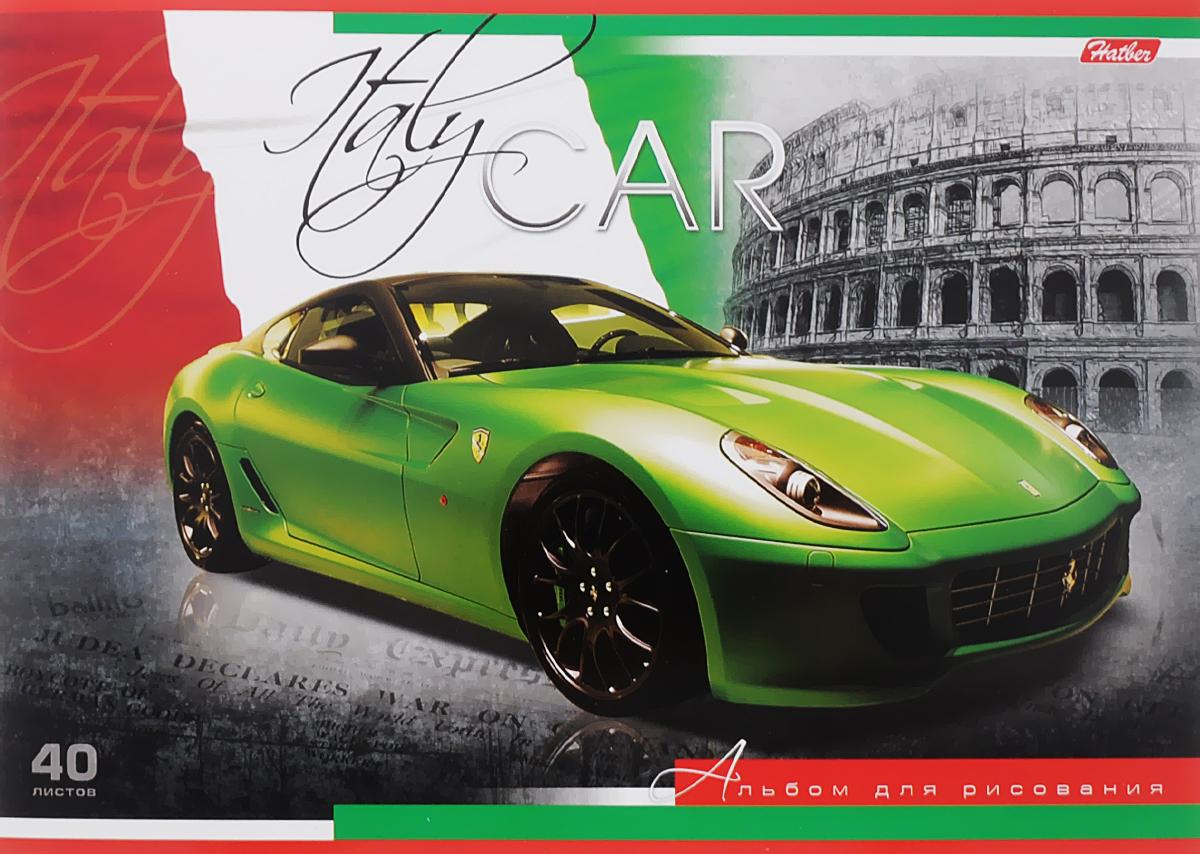 Hatber Альбом для рисования Италия 40 листов40А4вмB_09288_ИталияАльбом для рисования Hatber Италия непременно порадует маленького художника и вдохновит его на творчество. Альбом изготовлен из белоснежной бумаги с яркой обложкой из плотного картона, оформленной изображением итальянского спортивного автомобиля марки Ferrari. Внутренний блок альбома, соединенный металлическими скрепками, состоит из 40 листов. Высокое качество бумаги позволяет рисовать в альбоме карандашами, фломастерами, акварельными и гуашевыми красками.