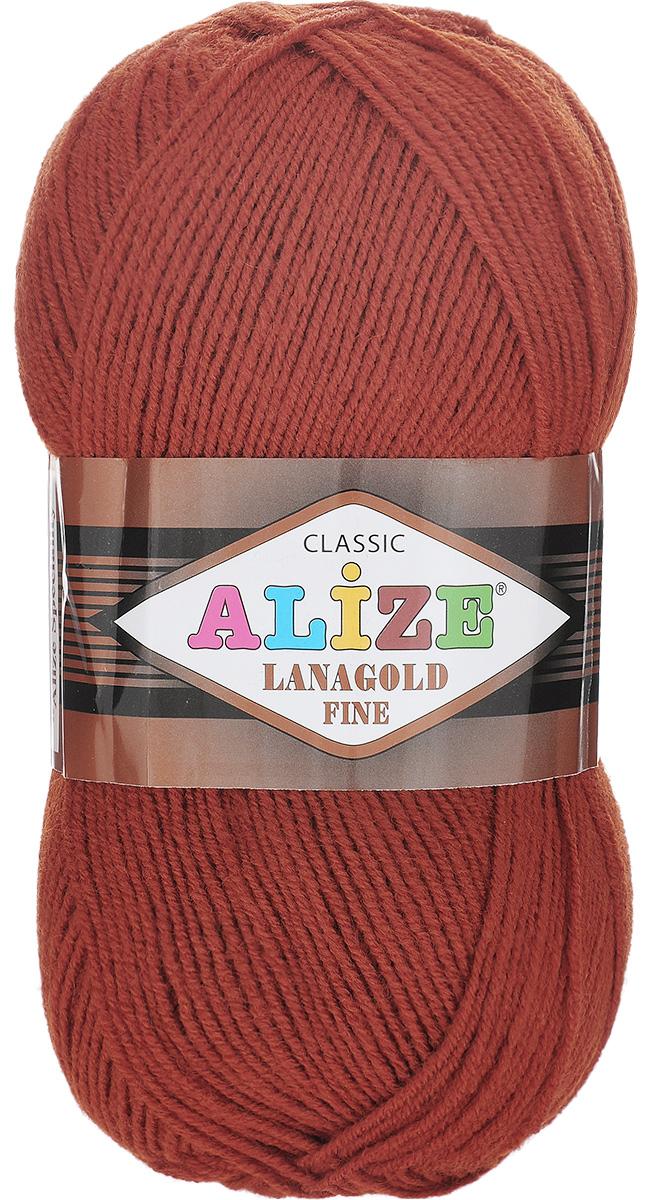 Пряжа для вязания Alize Lanagold Fine, цвет: терракотовый (641), 390 м, 100 г, 5 шт547499_641Alize Lanagold Fine - это полушерстяная пряжа для ручного вязания. Нить плотно скручена, гибкая, послушная, не пушится, не электризуется, аккуратно ложится в петли и не деформируется после распускания. Стойкое равномерное окрашивание обеспечивает широкую палитру оттенков, высокое качество материала и используемых красителей защищает от потери цвета. Соотношение шерсти и акрила - формула практичности. Высокие тепловые характеристики сочетаются с эстетикой, носкостью и простотой ухода за вещью. Классическая пряжа для зимнего сезона, может использоваться для детской и взрослой одежды. Alize Lanagold Fine - универсальная пряжа, которая будет хорошо смотреться в узорах любой сложности. Рекомендуемый размер спиц 2,5-4 мм и крючка 2-4 мм. Состав: 49% шерсть, 51% акрил.