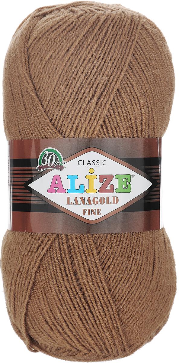 Пряжа для вязания Alize Lanagold Fine, цвет: карамель (179), 390 м, 100 г, 5 шт547499_179Alize Lanagold Fine - это полушерстяная пряжа для ручного вязания. Нить плотно скручена, гибкая, послушная, не пушится, не электризуется, аккуратно ложится в петли и не деформируется после распускания. Стойкое равномерное окрашивание обеспечивает широкую палитру оттенков, высокое качество материала и используемых красителей защищает от потери цвета. Соотношение шерсти и акрила - формула практичности. Высокие тепловые характеристики сочетаются с эстетикой, носкостью и простотой ухода за вещью. Классическая пряжа для зимнего сезона, может использоваться для детской и взрослой одежды. Alize Lanagold Fine - универсальная пряжа, которая будет хорошо смотреться в узорах любой сложности. Рекомендуемый размер спиц 2,5-4 мм и крючка 2-4 мм. Состав: 49% шерсть, 51% акрил.
