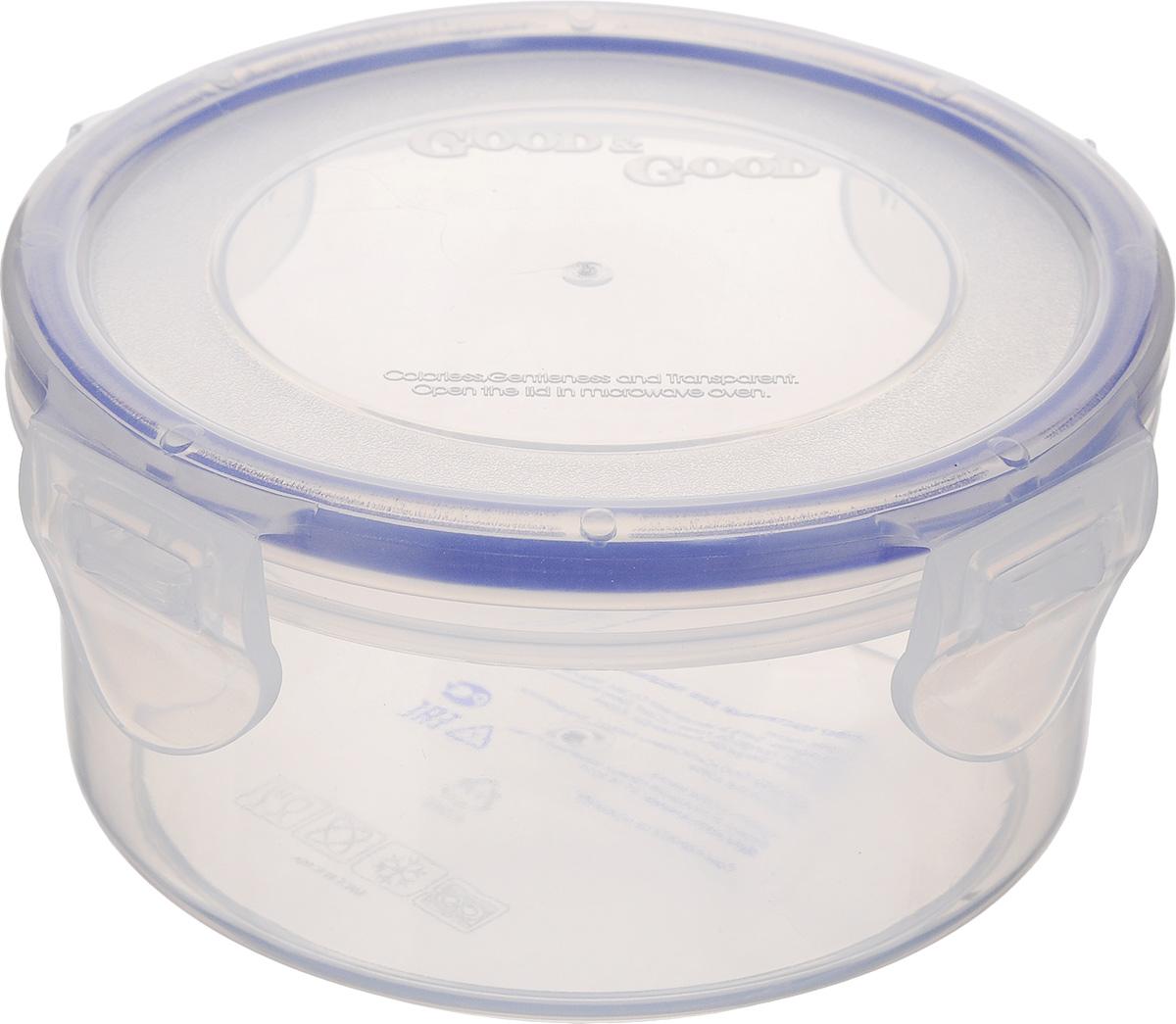 Контейнер Good&Good, цвет: прозрачный, синий, 350 млR2-1Контейнер Good&Good изготовлен из высококачественного полипропилена и предназначен для хранения любых пищевых продуктов. Благодаря особым технологиям изготовления, лотки в течение времени службы не меняют цвет и не пропитываются запахами. Крышка с силиконовой вставкой герметично защелкивается специальным механизмом. Контейнер Good&Good удобен для ежедневного использования в быту. Можно мыть в посудомоечной машине и использовать в СВЧ. Диаметр контейнера: 11 см. Высота контейнера: 6 см.