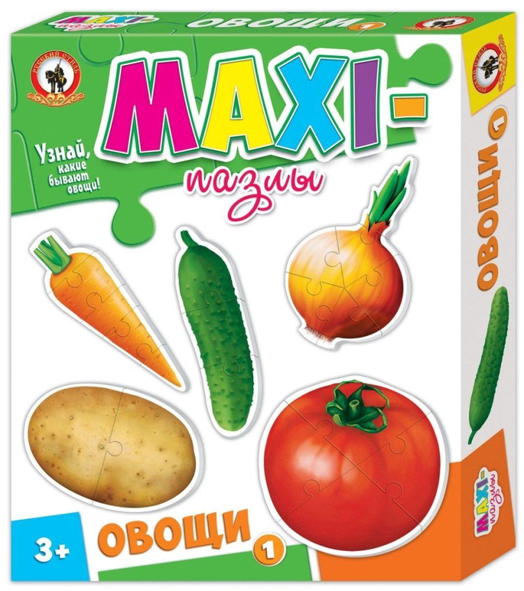 Русский стиль Макси пазлы Овощи 103527Игра для детей от 3 лет. Состав набора: Картофель (2 элемента) Огурец (3 элемента) Помидор (4 элемента) Морковь (5 элементов) Лук (6 элементов)