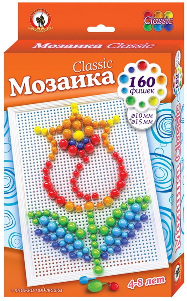 Русский стиль Мозаика Classic Тюльпан Большая плата03972Игра для детей от 3 лет. Состав набора: Плата большая – 1 шт. Фишки мозаики диаметр 10+15 мм – 160 шт. Книжка-подсказка