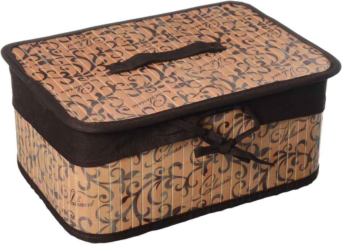 Корзина стеллажная Valiant Classic, 32 х 23 х 14 смCL-BB-MСтеллажная корзина Valiant Classic изготовлена из обработанного натурального бамбука и текстиля, хорошо держит форму благодаря металлическому каркасу. Изделие имеет изысканный благородный узор, который гармонично смотрится в современном классическом интерьере. Корзина очень удобна и практична. Она идеально подойдет для хранения мелких вещей, легкая крышка позволяет скрыть содержимое корзины. Каркасная конструкция обеспечивает легкость складывания и раскладывания. Внутренний чехол можно стирать в машинке при температуре 40°С. Натуральные материалы делают корзину экологичным и безопасным аксессуаром для дома. Изысканный дизайн Valiant Classic придется по вкусу ценителям классического стиля. Система хранения Valiant Classic гармонично вписывается в современный классический гардероб.