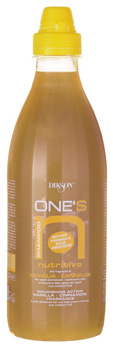 Dikson One's Питательный шампунь для волос, склонных к выпадению. Ваниль-корица Shampoo Nutritivo 1000 мл655Шампунь Dikson One's Shampoo Nutritivo мягко и деликатно очищает ослабленные волосы, укрепляет волосяные фолликулы и обеспечивает интенсивное питание кожи головы. Делает объемными даже тонкие волосы. Протеиново-витаминный коктейль Hairactive отвечает за питание фолликулов, стимулирует кровообращение и активизирует рост волос.