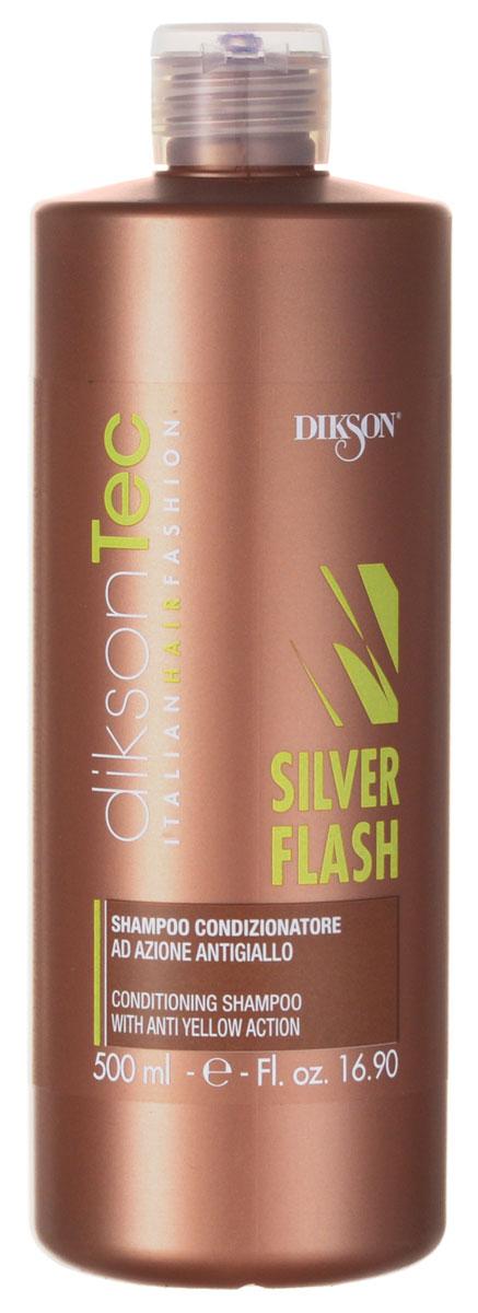 Dikson Silver Шампунь-нейтрализатор желтизны Flash Shampoo 500 мл710Фиолетовый шампунь Dikson Silver Flash Shampoo предназначен для ухода за светлыми, обесцвеченными и седыми волосами. Позволяет избавиться от желтизны и зеленого пигмента. Внимание! Возможен тонирующий эффект. Благодаря содержащемуся в шампуне провитамину В5, восстанавливается водный баланс волос. За счет протеинов пшеницы волосы становятся блестящими и шелковистыми, увеличивается их объем.