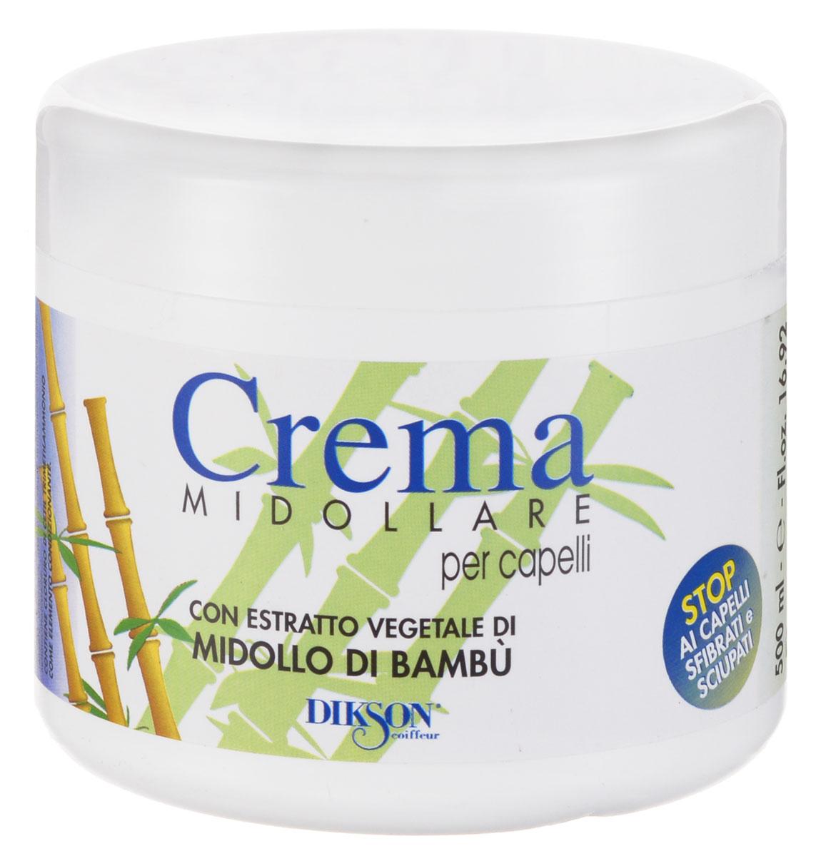 Dikson Восстанавливающий бальзам с экстрактом бамбука Crema Midollare Bambu 500 мл850Crema Midollare Bambu - крем-бальзам, предназначенный для восстановления и питания секущихся, поврежденных и безжизненных волос. Нейтрализует секущиеся кончики, питает волосы, тонизирует их и препятствует выпадению. Дарит волосам блеск и шелковистость.