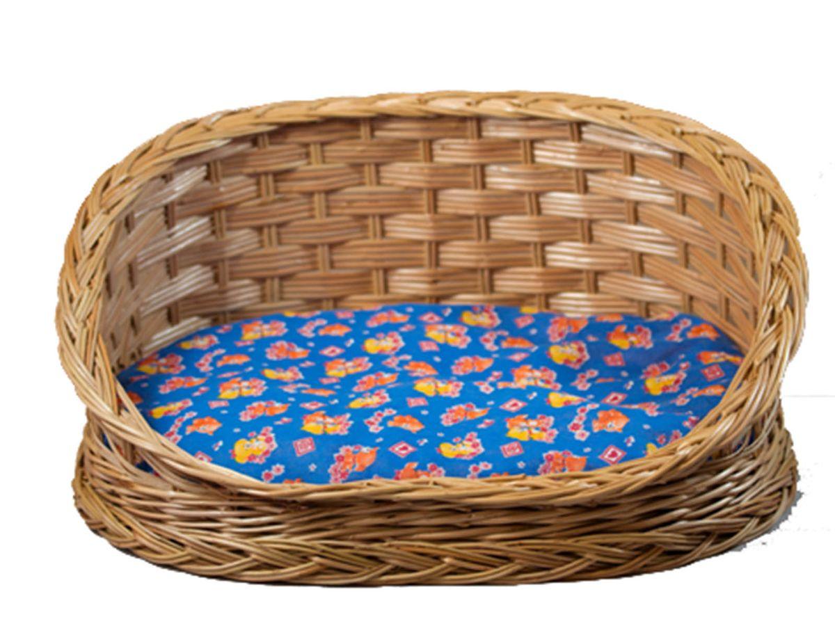 Лежак для животных из лозы Овальный со спинкой №2 46,5х36,5х21АРТ 337Домик, плетеный из лозы. Ручная работа. Натуральный ивовый прут.
