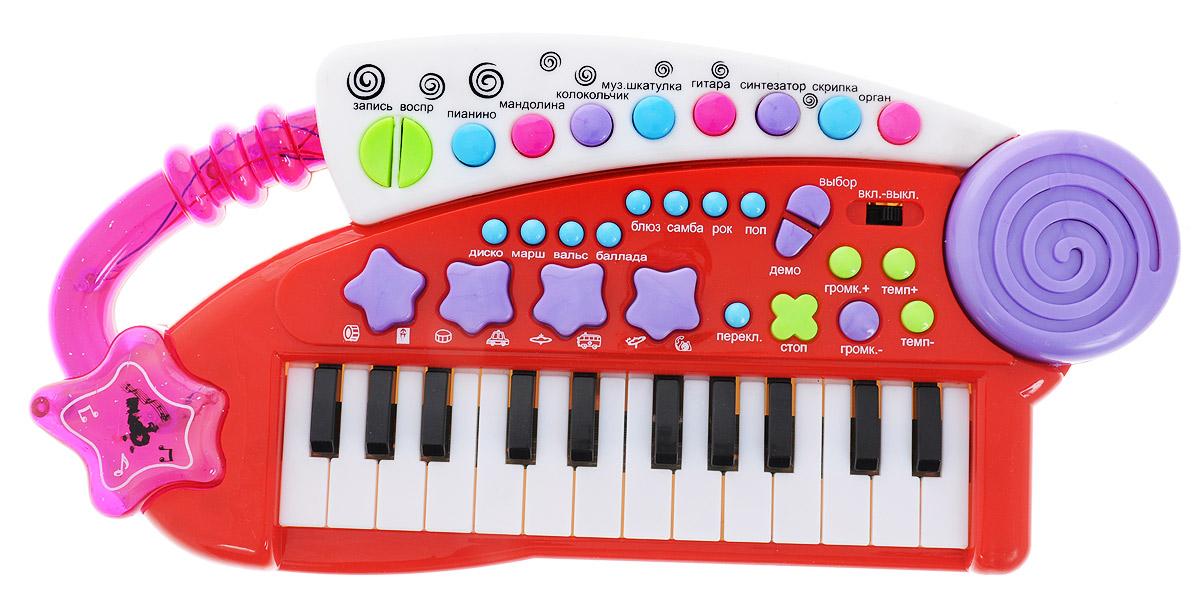 Тилибом Детский электронный синтезаторТ80471_ красныйДетский электронный синтезатор Тилибом со световыми эффектами привлечет внимание вашего ребенка и доставит ему много удовольствия. На панели синтезатора расположены 24 клавиши, кнопки регулировки звука и темпа, кнопки выбора ритма, функции записи и воспроизведения, а при нажатии на кнопку Demo ребенок сможет прослушать различные мелодии, уже записанные на синтезаторе, и использовать их для составления собственных мелодий. Во время проигрывания музыки в боковой части игрушки мигают огоньки. Особенности синтезатора: звучание 8 музыкальных инструментов; 8 разных ритмов музыки; 4 электронных барабана; 5 демо-мелодий; 4 звучания голосов животных; запись и прослушивание музыки; регулировка громкости, скорости и темпа музыки. С помощью этого синтезатора ребенок сможет развить свои музыкальные способности и порадовать друзей и близких великолепным концертом. Порадуйте его таким великолепным...
