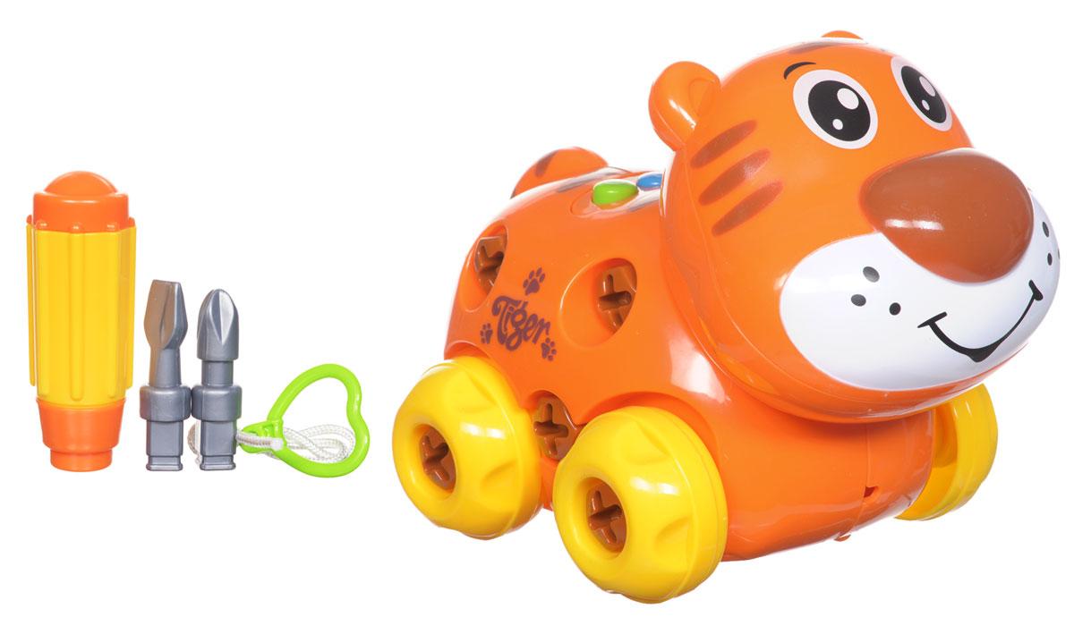 Zhorya Каталка-конструктор ТигрХ75550_тигрКаталка-конструктор Zhorya Тигр, выполненная из яркого и безопасного пластика, несомненно понравится вашему малышу. Ребенок с большим удовольствием будет собирать и разбирать тигренка, играть с ним. Голова тигренка подвижна. На спинке игрушки расположены три кнопки разных цветов, пронумерованные от одного до трех, при нажатии на которые звучит веселая песенка и забавные фразы. Благодаря тому, что элементы и шурупы довольно крупных размеров, маленькому ребенку будет легко соединять их друг с другом с помощью пластиковой отвертки с насадками, входящей в комплект. Колесики и текстильный шнурок с колечком-сердечком позволят катать игрушку. Порадуйте вашего малыша таким замечательным подарком! Необходимо докупить 3 батарейки напряжением 1,5V типа АА (не входят в комплект).