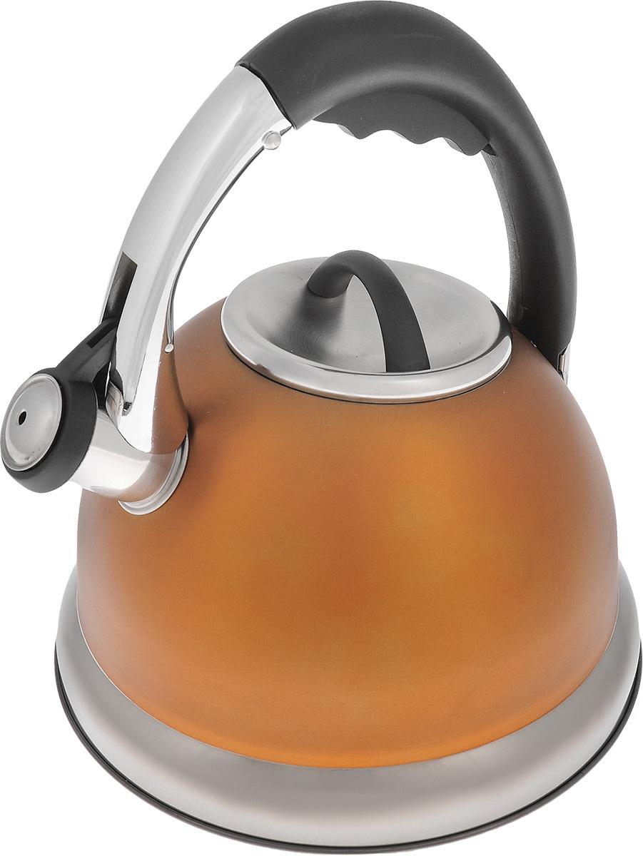 Чайник Bekker Premium со свистком, цвет: оранжевый, 3,5 л. BK-S575BK-S575_ оранжевыйЧайник Bekker Premium выполнен из высококачественной нержавеющей стали, что обеспечивает долговечность использования. Внешнее цветное матовое покрытие придает приятный внешний вид. Металлическая фиксированная ручка с нейлоновой вставкой делает использование чайника очень удобным и безопасным. Чайник снабжен свистком и устройством для открывания носика, которое находится на ручке. Изделие оснащено капсулированным дном для лучшего распространения тепла. Не рекомендуется мыть в посудомоечной машине. Пригоден для всех видов плит, включая индукционные. Высота чайника (без учета крышки и ручки): 14 см. Высота чайника (с учетом ручки): 24,5 см. Диаметр отверстия: 9,5 см.