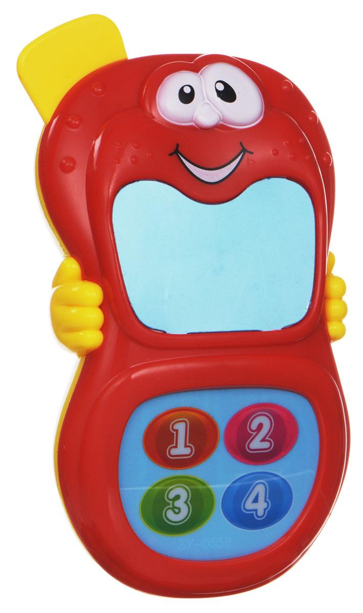 Zhorya Развивающая игрушка Веселый телефончик цвет красный желтыйХ75528_ красныйРазвивающая игрушка Zhorya Веселый телефончик надолго займет внимание вашего ребенка. Она выполнена из безопасного и яркого пластика в виде мобильного телефона. Экран представляет собой безопасное зеркальце. В нижней части игрушки расположены четыре пронумерованные кнопки, при нажатии на которые звучат веселые фразы и детская песенка на русском языке. Во время звучания на экране появляются картинки. Игрушка поможет ребенку в развитии цветового и звукового восприятия, мелкой моторики рук, координации движений и тактильных ощущений. Необходимо докупить 2 батарейки напряжением 1,5V типа ААА (не входят в комплект).