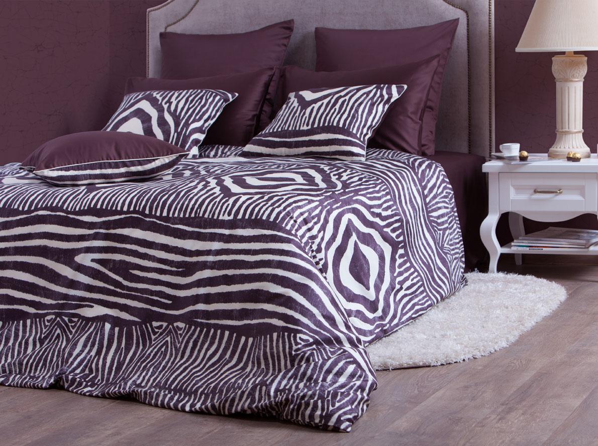 Комплект белья Хлопковый Край Кения, 1, 5-спальный, наволочки 70x70 , цвет: темно-коричневый. 5458/2