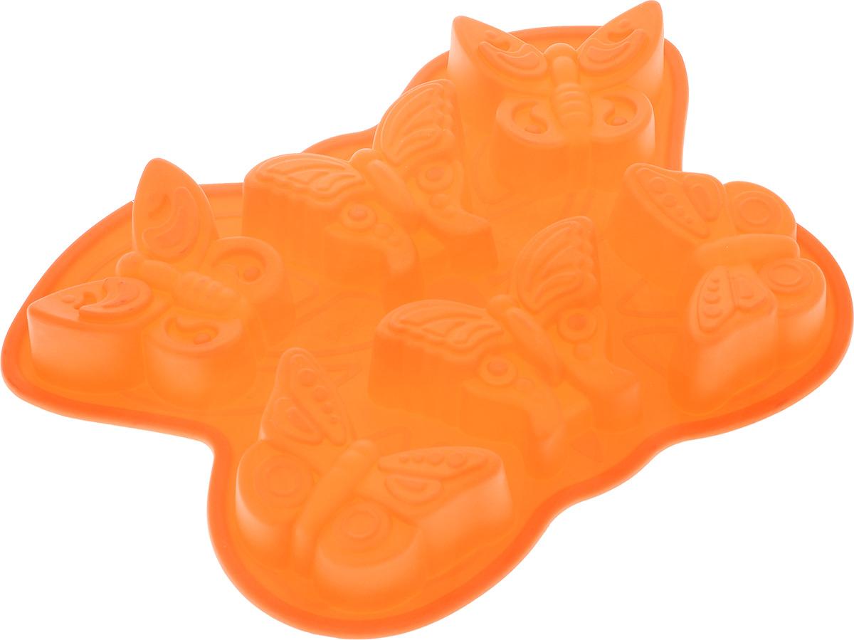 Форма для выпечки Mayer & Boch Бабочки, силиконовая, цвет: оранжевый, 6 ячеек21985_ оранжевыйФорма для выпечки Mayer & Boch Бабочки изготовлена из высококачественного силикона. Стенки формы легко гнутся, что позволяет легко достать готовую выпечку и сохранить аккуратный внешний вид блюда. Форма имеет 6 ячеек в виде бабочек. Силикон - материал, который выдерживает температуру от -40°С до +230°С. Изделия из силикона очень удобны в использовании: пища в них не пригорает и не прилипает к стенкам, форма легко моется. Приготовленное блюдо можно очень просто вытащить, просто перевернув форму, при этом внешний вид блюда не нарушится. Изделие обладает эластичными свойствами: складывается без изломов, восстанавливает свою первоначальную форму. Порадуйте своих родных и близких любимой выпечкой в необычном исполнении. Подходит для приготовления в микроволновой печи и духовом шкафу при нагревании до +230°С; для замораживания до -40°. Размер ячейки: 10,5 см х 6 см х 4 см. Размер формы: 32,5 см х 23 см х 4 см.