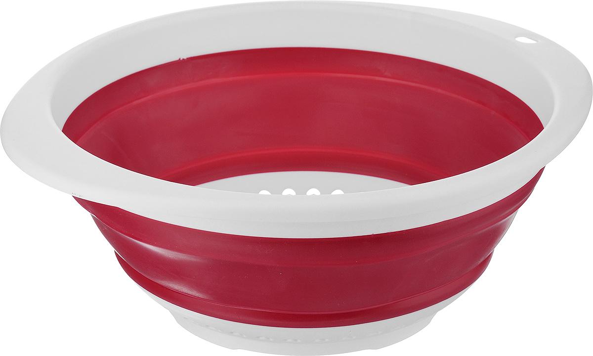 Дуршлаг складной Calve, цвет: красный, 30 x 26,5 x 4 смCL-4595_ красныйДуршлаг Calve, изготовленный из высококачественного силикона и пластика, станет полезным приобретением для вашей кухни. Он предназначен для отделения жидкости от твердых веществ, например, после варки макаронных изделий, круп, картофеля. Также дуршлаг используется для мытья и промывания ягод, грибов, мелких фруктов и овощей. Дуршлаг компактно складывается, что делает его удобным для хранения. Можно мыть в посудомоечной машине. Внутренний диаметр: 24 см. Размер (в разложенном виде): 30 х 26,5 х 11 см. Размер (в сложенном виде): 30 х 26,5 х 4 см.