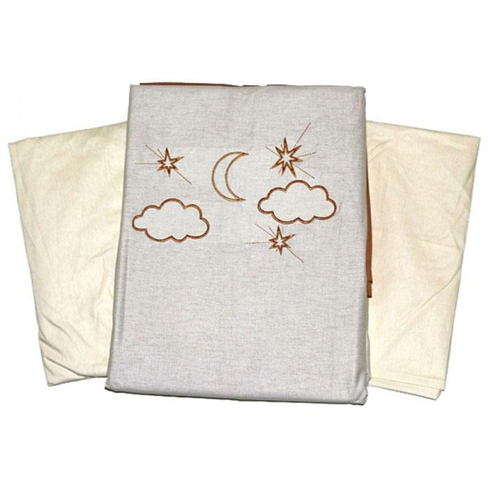 Топотушки Комплект белья для новорожденных Карамелька 3 предмета4630008876732Комплект белья для новорожденных Топотушки Карамелька выполнен в нежных бежево-коричневых тонах с вышитыми звездами, месяцем, облаками и мишкой. Комплект белья Карамелька создаст комфорт и уют в кроватке малыша и обеспечит крепкий и здоровый сон, а современный дизайн и цветовые сочетания помогут ребенку адаптироваться в новом для него мире. Комплект белья для новорожденных Топотушки Карамелька хорошо впишется в интерьер как детской комнаты, так и спальни родителей. Цветовые и дизайнерские решения - плоды совместных трудов европейских дизайнеров и российских технологов - делают внешний вид комплекта роскошным и незабываемым. Качество материала обеспечивает легкость стирки и долговечность. Комплект включает в себя наволочку 60 см х 40 см, пододеяльник 147 см х 112 см, простыню на резинке 60 см х 120 см.