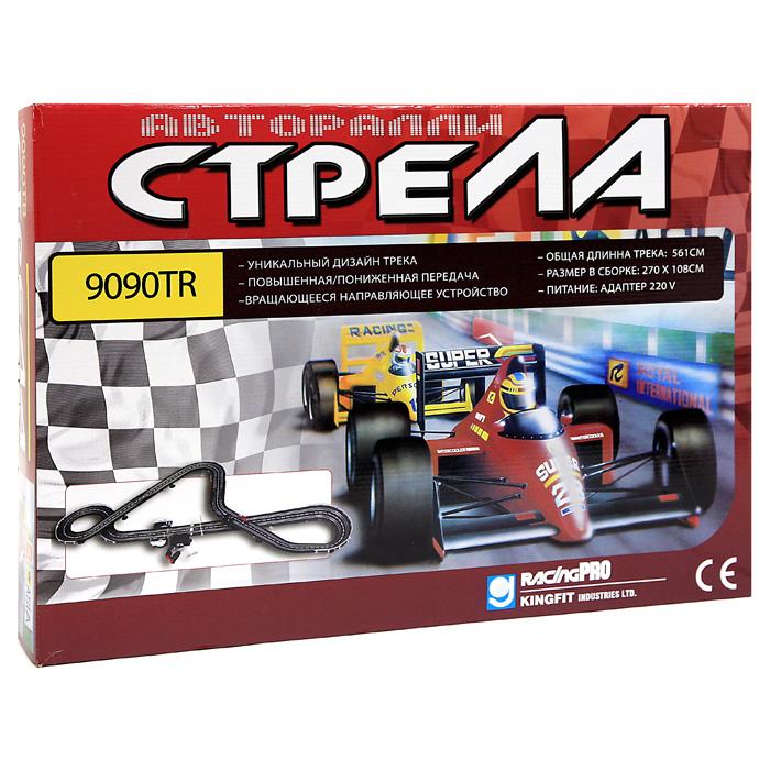 Racing Pro Игрушечный трек Авторалли Стрела 9090TR9090-TR/BR-9090Яркий игровой набор Авторалли Стрела привлечет внимание каждого любителя гоночных соревнований и азартных развлечений. Набор состоит из двух гоночных автомобилей и элементов для сборки гоночного трека (трек прямой - 15 шт, трек изогнутый - 14 шт, трек для виражей - 4 шт, трек со сжимающимися полосами - 2 шт, счетчик кругов, трек со входом питания), а также 2 пульта управления, бокс для батареек, сетевой адаптер, подставка для моста - 11 шт, стойка - 14 шт, опора для моста - 14 шт, ограда - 9 шт, знак старт/финиш, знаки - 2 шт, секция моста - 2 шт, проволочные щеточки - 1 набор. При помощи двух пультов управления, подключающихся проводами к специальному отсеку на треке, можно управлять автомобилями и их скоростями. Устройте свое соревнование и узнайте, кто станет чемпионом! Набор позволит ребенку не только получать удовольствие от игры и соревнований, но и развивать пространственное воображение, мелкую моторику рук и координацию движений. Порадуйте его таким замечательным...