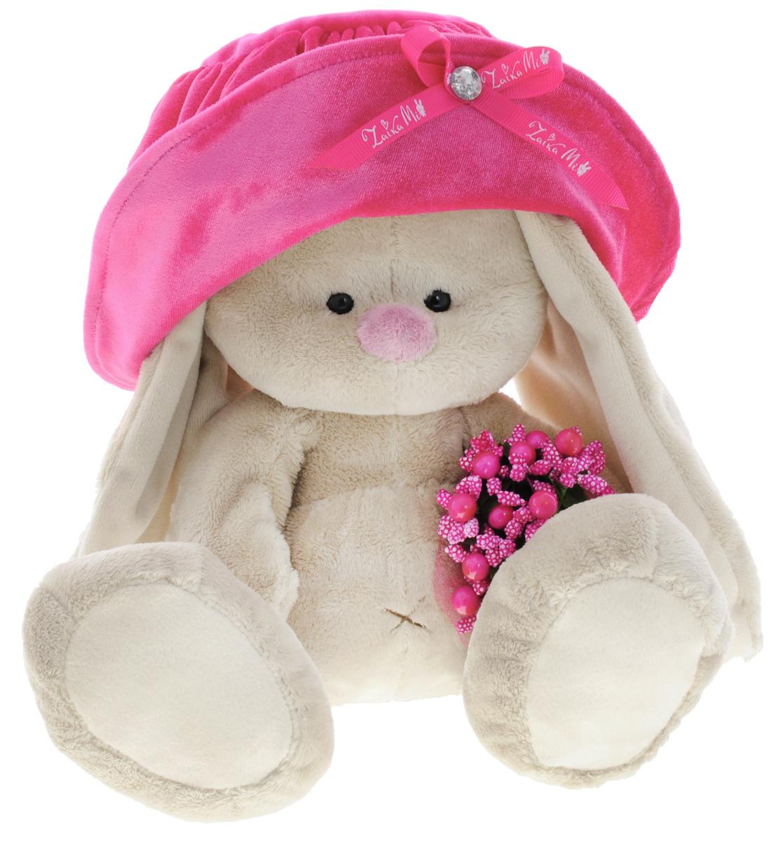 Мягкая игрушка Зайка Ми в шляпе и с букетиком 23 см