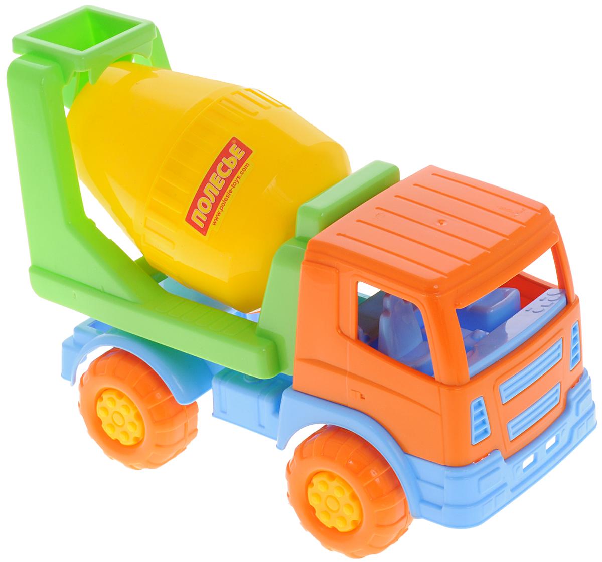 Полесье Бетоновоз Салют цвет оранжевый голубой салатовый8953_оранжевый голубой салатовыйЯркий бетоновоз Салют, изготовленный из прочного безопасного пластика, отлично подойдет ребенку для различных игр. Бетоновоз оснащен вращающейся бочкой для перемешивания цемента во время транспортировки. Кузов с бочкой может опускаться назад. Большие ребристые колеса со свободным ходом обеспечивают игрушке устойчивость и хорошую проходимость. Ваш юный строитель сможет прекрасно провести время дома или на улице, создавая свою стройку.
