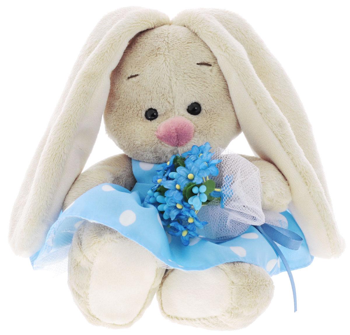 Мягкая игрушка Зайка Ми в платье и с букетом незабудок 15 см