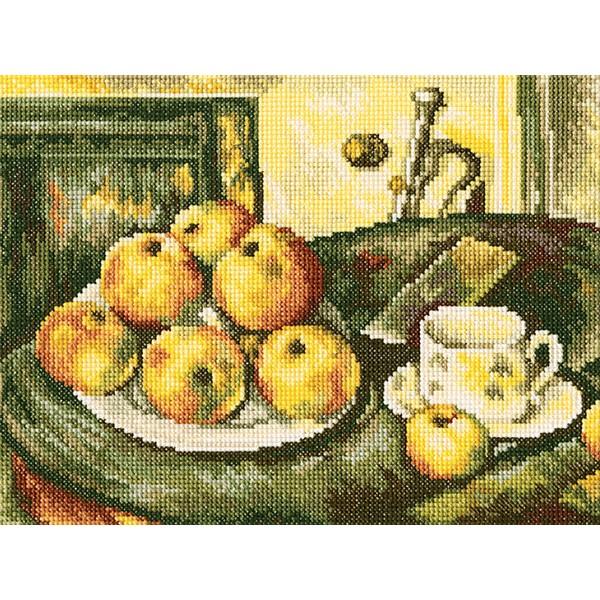 Набор для вышивания крестом RTO Натюрморт с яблоками, 24 х 18 смМ411Красивый рисунок-вышивка, выполненный на канве, выглядит оригинально и всегда модно. Работа, сделанная своими руками, создаст особый уют и атмосферу в доме и долгие годы будет радовать вас и ваших близких. Набор для вышивания RTO Натюрморт с яблокам содержит все необходимые материалы. Вышивка выполняется техникой счетный крест. В состав набора входит: - канва Aida 14 белого цвета (100% хлопок, 5,5 клеток = 1 см, рисунок не нанесен); - вышивальные нитки-мулине DMC на карте, разобранные по цветам (38 цветов, 100% хлопок); - символьная схема; - инструкция; - игла для вышивания.