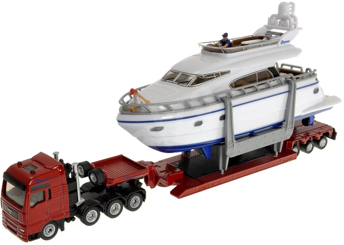 Siku Тягач MAN с яхтой1849Тягач MAN с яхтой Siku представляет собой копию реальной техники в масштабе 1:87. Корпус тягача и прицепа выполнены из металла, лобовое и боковые стекла - из прозрачного пластика, прорезиненные колеса имеют свободный ход. Прицеп отцепляется от тягача, яхта снимается с прицепа. У яхты снимается верхняя палуба. Тщательно проработанные детали тягача с яхтой делают этот набор максимально реалистичным и интересным для игры.