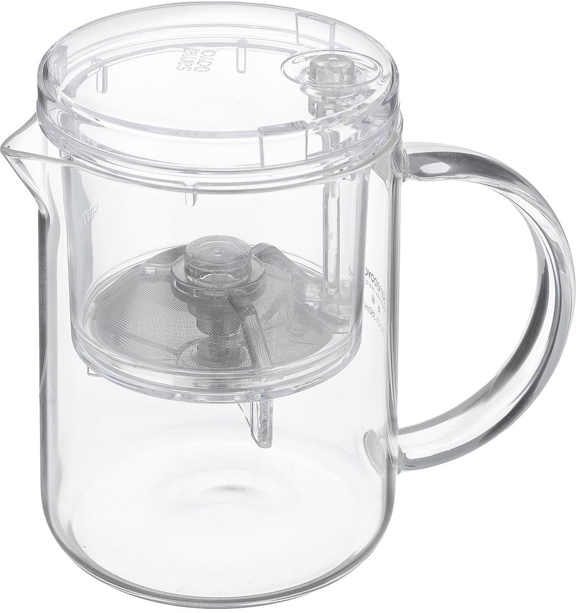 Чайник заварочный Samadoyo EC-02, 500 мл02112Чайник заварочный Samadoyo EC-02 – простой и в тоже время профессиональный инструмент для того, чтобы заварить ваш любимый чай. Уникальный механизм слива чайного настоя позволяет вам получить напиток любой степени крепости.Такая технология заваривания чая повторяет основной смысл чайной церемонии – получить напиток максимального качества. Однако имеет перед ней два существенных преимущества - мобильность и простоту. Чайник можно не только с комфортно использовать на работе или в офисе, но и взять с собой в путешествие, чтобы ваш любимый чай был всегда с вами! Чайник выполнен из высококачественного боросиликатного стекла и выдерживает температуры до 180°С, что позволяет не беспокоиться относительно слишком горячего кипятка. Чайник и колба полностью прозрачна, что позволяет в любое время любоваться цветом чайного настоя. Заварочная колба выполнена из специального пищевого пластика, имеет металлическую сеточку-фильтр, предотвращающую попадание чаинок в настой, а...
