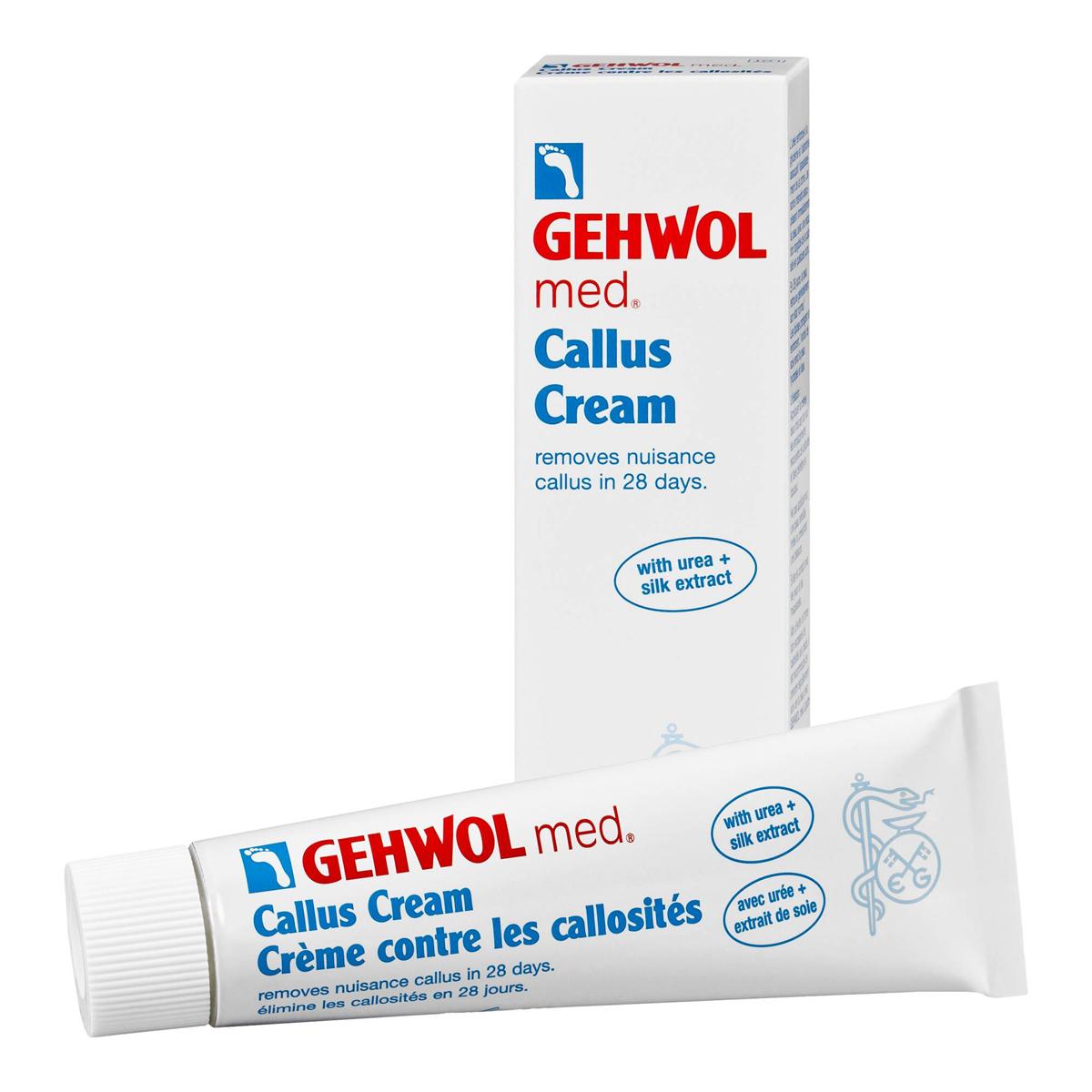 Gehwol Med Callus Cream - Крем для загрубевшей кожи ног 75 мл1*41205Крем для загрубевшей кожи Геволь мед (Gehwol med Callus Cream) решает проблему гиперкератоза за 4 недели. Деликатно смягчает и удаляет загрубевшую кожу, благодаря уникальной рецептуре ослабляет межклеточные соединения плотных слоев кожи. В результате достигается быстрое смягчение загрубевшей кожи и ощутимые результаты уже после нескольких дней применения. Экстракт шелка увлажняет и разглаживает кожу. Регулярный уход за кожей ног в сочетании с Кремом Геволь Мед Гидро-баланс надежно защищает от повторного образования участков загрубевшей кожи.