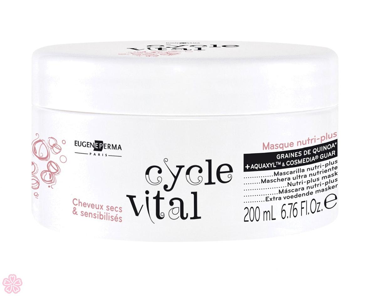 Eugene Perma Маска питательная Masque Cycle Vital Nutri-Plus 200 мл21024508Маска питательная для сухих и поврежденных волос с кремообразной текстурой укрепляет поврежденные волосы и восстанавливает фибр волоса, придавая волосам мягкость, упругость и сияние. Обладает кремообразной текстурой, интенсивно питая и увлажняя, усиливает и восстанавливает поврежденные волосы, которые вновь становятся мягкими, блестящими и послушными. Предотвращает их сухость.