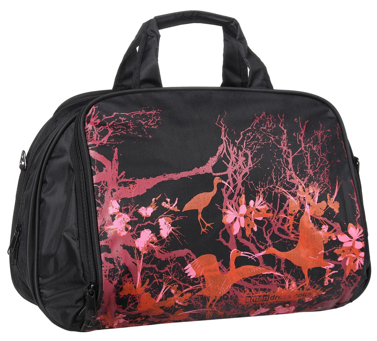 Сумка дорожная Antan Птицы райские, цвет: черный, розовый, оранжевый. 1-27/11-27/1_черный, розовыйВместительная дорожная сумка Antan Птицы райские выполнена из плотного текстиля с ярким принтом. Модель имеет одно главное отделение, закрывающееся на пластиковую застежку-молнию. Внутри отделения предусмотрен вместительный прорезной карман на застежке-молнии. Снаружи, на задней и передней стенках расположены накладные карманы на застежках-молниях, в одном из которых содержатся два сетчатых накладных кармашка. Сумка оснащена двумя удобными ручками и съемным текстильным плечевым ремнем регулируемой длины. Такая сумка - незаменимый аксессуар для путешествия.