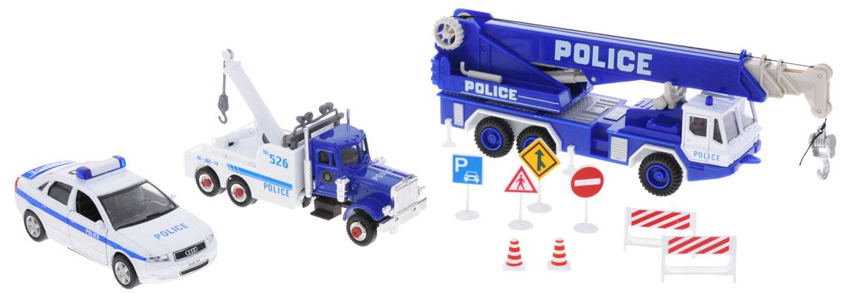 Welly Игровой набор Полиция 11 предметов99610-10AИгровой набор Welly Полиция представляет собой 3 реалистичные модели, выполненные в виде точных копий полицейской техники. Набор включает в себя автокран, седан, эвакуатор и 8 дорожных знаков. Модели отличаются высоким качеством исполнения и детализации. Корпус моделей выполнен из металла и пластика, стекла изготовлены из прочного прозрачного пластика. Колеса машинок и башня крана вращаются, дверцы седана открываются, стрела крана выдвигается, крюк крана опускается. Ваш ребенок часами будет играть с набором, придумывая различные истории. Порадуйте его таким замечательным подарком!