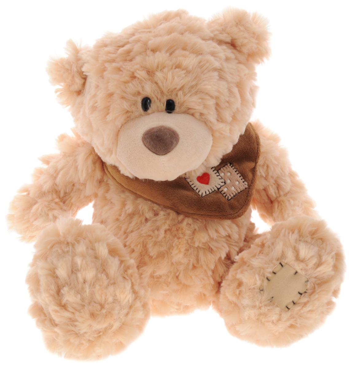 Plush Apple Мягкая музыкальная игрушка Медведь с шарфом цвет светло-рыжий 41 смK76163A3,A4_ светло-рыжийМягкая музыкальная игрушка Plush Apple Медведь с шарфом, выполненная в виде симпатичного медвежонка, вызовет умиление и улыбку у каждого, кто ее увидит. При каждом нажатии на животик мишки, он будет петь успокаивающую колыбельную песенку. Плюшевый мишка произведен из безопасных и высококачественных материалов. Мишка украшен стильным шарфом. У него пушистая приятная шерстка, черные глаза-бусинки и большие лапки. С ним можно спать, или играть в сюжетно-ролевые игры. Удивительно мягкая игрушка принесет радость и подарит своему обладателю мгновения нежных объятий и приятных воспоминаний.