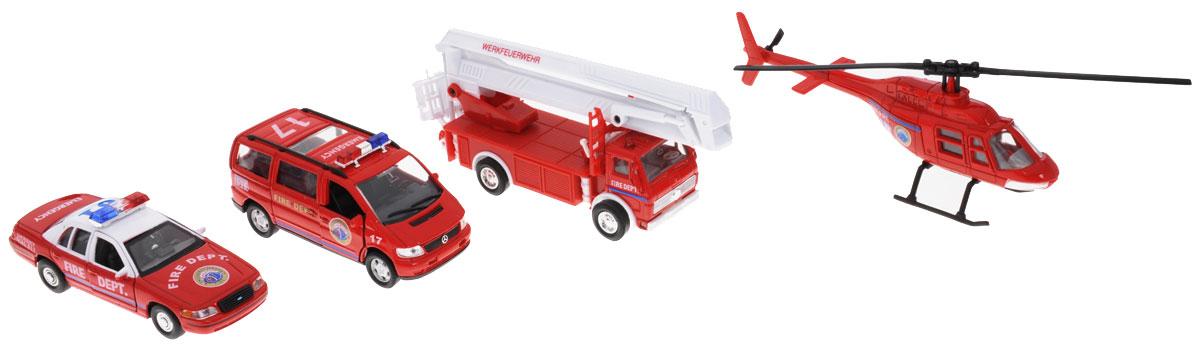 Welly Игровой набор Пожарная служба 4 предмета98160-4CИгровой набор Welly Пожарная служба представляет собой 4 реалистичные модели, выполненные в виде точных копий пожарной техники. Набор включает в себя автовышку, вертолет, минивэн и седан. Модели отличаются высоким качеством исполнения и детализации. Корпус моделей выполнен из металла, стекла изготовлены из прочного прозрачного пластика. Колеса машинок и лопасти вертолета вращаются. Стрела автовышки поднимается, дверцы седана и минивэна открываются. Ваш ребенок часами будет играть с набором, придумывая различные истории. Порадуйте его таким замечательным подарком!