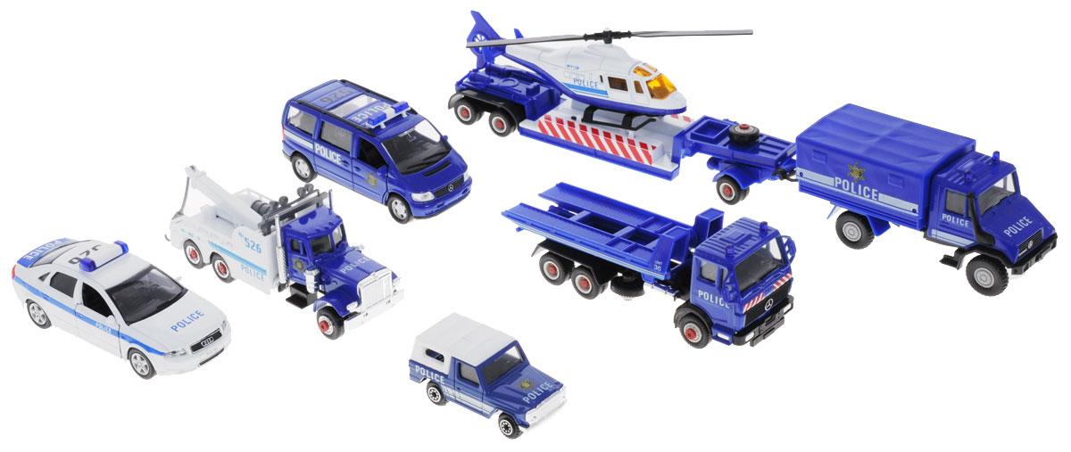 Welly Игровой набор Полиция 9 предметов99610-6AИгровой набор Welly Полиция представляет собой 9 реалистичных моделей, выполненных в виде точных копий полицейской техники. Набор включает в себя вертолет, седан, минивэн, джип, 2 эвакуатора, грузовик и 2 прицепа. Модели отличаются высоким качеством исполнения и детализации. Корпус моделей выполнен из металла, стекла изготовлены из прочного прозрачного пластика. Колеса машинок и лопасти вертолета вращаются. Дверцы седана и минивэна открываются, кран эвакуатора поднимается. Ваш ребенок часами будет играть с набором, придумывая различные истории. Порадуйте его таким замечательным подарком!