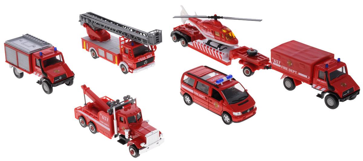 Welly Игровой набор Пожарная команда 8 предметов99610-6BИгровой набор Welly Пожарная команда представляет собой 8 реалистичных моделей, выполненных в виде точных копий пожарной техники. Набор включает в себя вертолет, минивэн, эвакуатор, автолестницу, 2 грузовика, 2 прицепа. Модели отличаются высоким качеством исполнения и детализации. Корпус моделей выполнен из металла, стекла изготовлены из прочного прозрачного пластика. Колеса машинок и лопасти вертолета вращаются. Дверцы минивэна открываются, лестница поворачивается и выдвигается. Ваш ребенок часами будет играть с набором, придумывая различные истории. Порадуйте его таким замечательным подарком!