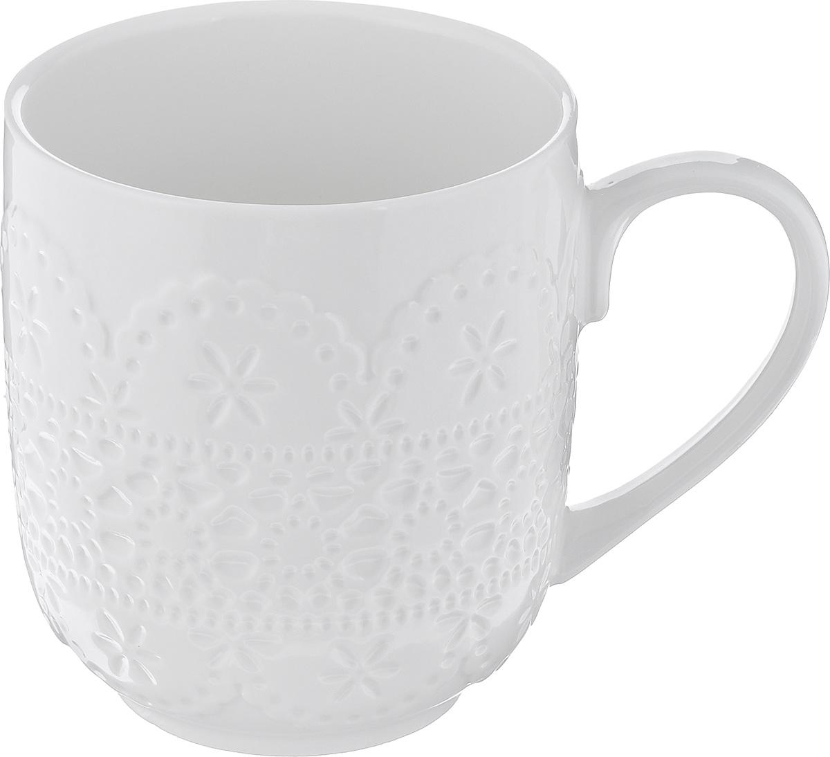 Кружка Walmer Charlotte, цвет: белый, 300 млW07320030Кружка Walmer Charlotte изготовлена из высококачественного фарфора. Изделие оформлено изысканным рельефным орнаментом. Такая кружка прекрасно оформит стол к чаепитию и станет его неизменным атрибутом. Не рекомендуется применять абразивные моющие средства. Диаметр (по верхнему краю): 8 см. Высота: 9,5 см.