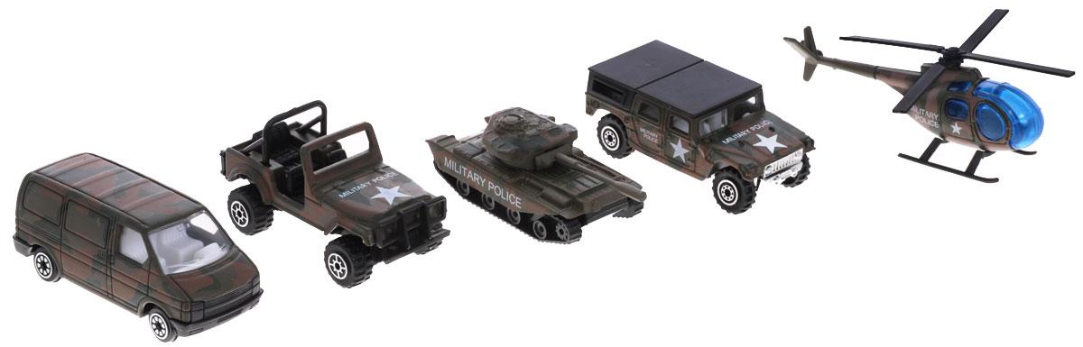 Welly Игровой набор Военно-полицейская команда 5 предметов97506CИгровой набор Welly Военно-полицейская команда представляет собой 5 реалистичных моделей, выполненных в виде точных копий техники военной полиции. Набор включает в себя 3 разные машинки, танк и вертолет. Модели отличаются высоким качеством исполнения и детализации. Корпус моделей выполнен из металла, стекла изготовлены из прочного прозрачного пластика. Колесики машинки, башня танка и пропеллер вертолета вращаются. Ваш ребенок часами будет играть с набором, придумывая различные истории. Порадуйте его таким замечательным подарком!
