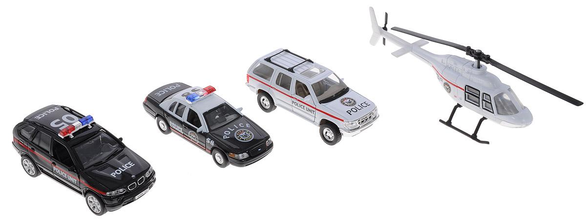Welly Игровой набор Полиция 4 предмета 98160-4A98160-4AИгровой набор Welly Полиция представляет собой 4 реалистичные модели, выполненные в виде точных копий полицейской техники. Набор включает в себя вертолет, седан и 2 хетчбэка. Модели отличаются высоким качеством исполнения и детализации. Корпус моделей выполнен из металла, стекла изготовлены из прочного прозрачного пластика. Колеса машинок и лопасти вертолета вращаются. Дверцы седана и хетчбэка открываются. Ваш ребенок часами будет играть с набором, придумывая различные истории. Порадуйте его таким замечательным подарком!